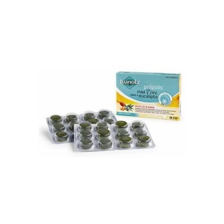 Própolis con miel, zinc y sabor a eucalipto 24 pastillas