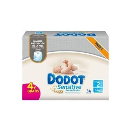 Dodot sensitive recién nacido T2 3-6 kg 34 unidades.