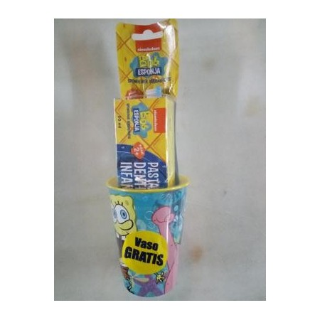 Pack Bob Esponja vaso+cepillo+pasta dental