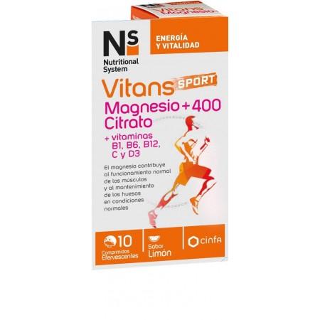 NS VITANS MAGNESIO CITRATO +400 10 COMPRIMIDOS EFERVESCENTES
