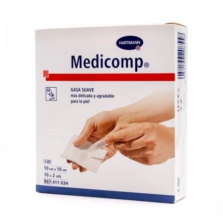 MEDICOMP COMPRESAS APOSITO ESTERIL 10X10 CM 10X2 UNIDADES